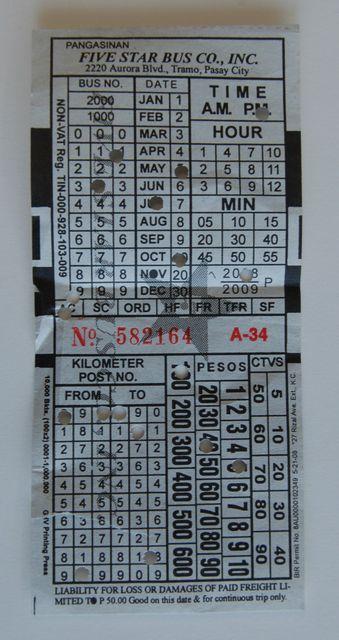 パサイからのファイブスターバスのチケット