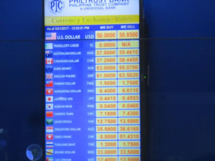 マニラ空港(ターミナル3)の為替レートボード(2)