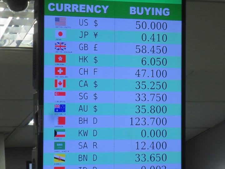 マニラ空港(ターミナル3)の為替レートボード(5)