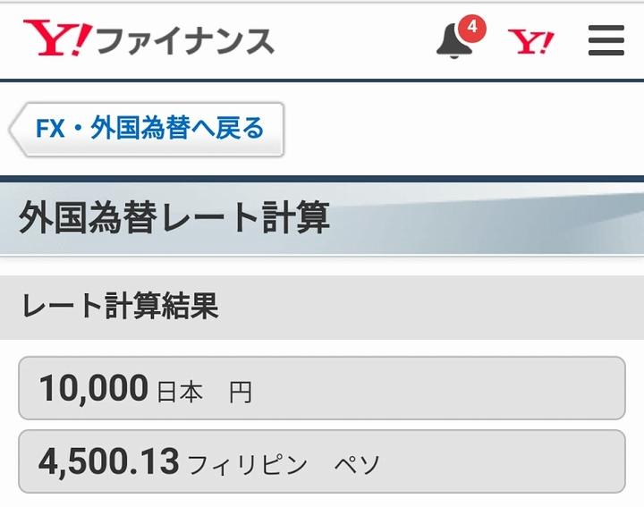 Yahooの(円⇒フィリピンペソ)レート