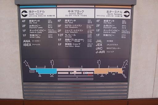 伊丹空港の乗り場案内です