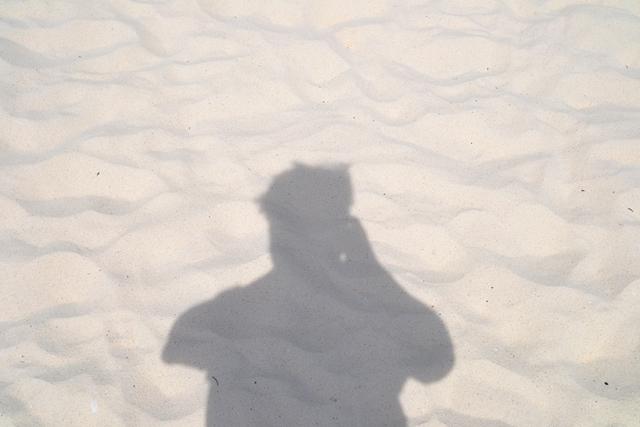ティエンビーチ - 砂の様子と著者近影(笑