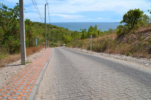 ラン島でレンタルバイク - 道路は全てこんな感じ