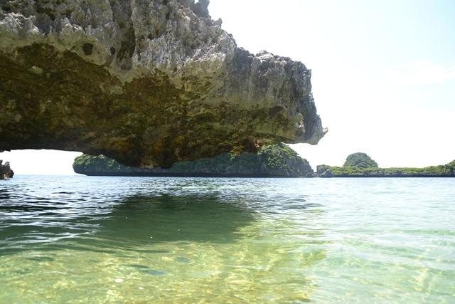 ハンドレッドアイランド - ロペス島の侵食されてハングオーバーした石灰石(左)
