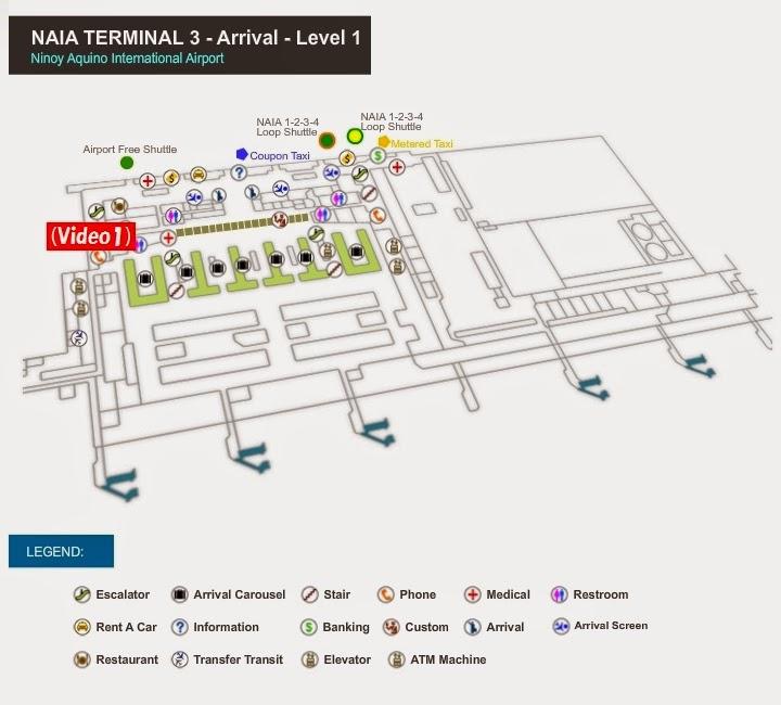 マニラ国際空港 ターミナル3 到着階フロアマップ
