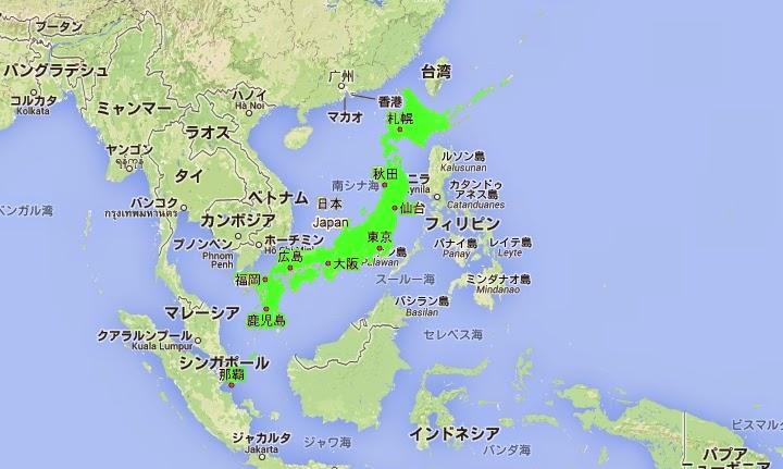 日本とフィリピンの国土比較図