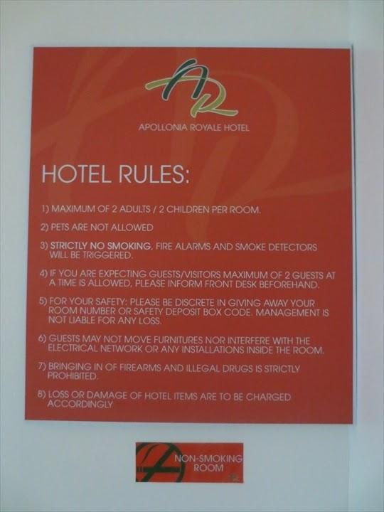アポロニア・ロイヤル・ホテル-ホテルルール