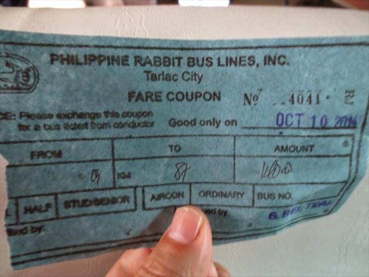 フィリピンラビット乗車時購入チケット
