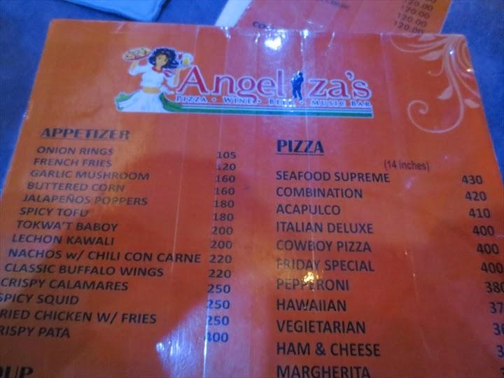 アンジェリザのアペタイザー&ピザメニュー
