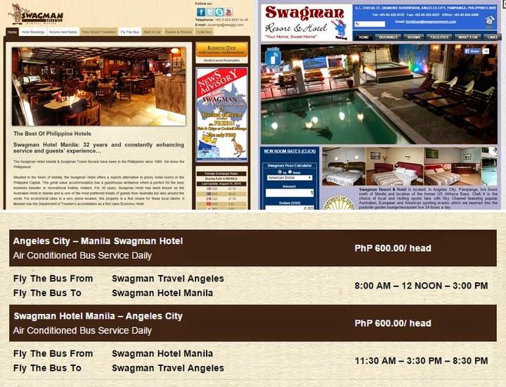 スワグマンホテル(マニラとアンヘレス)のWEBサイト