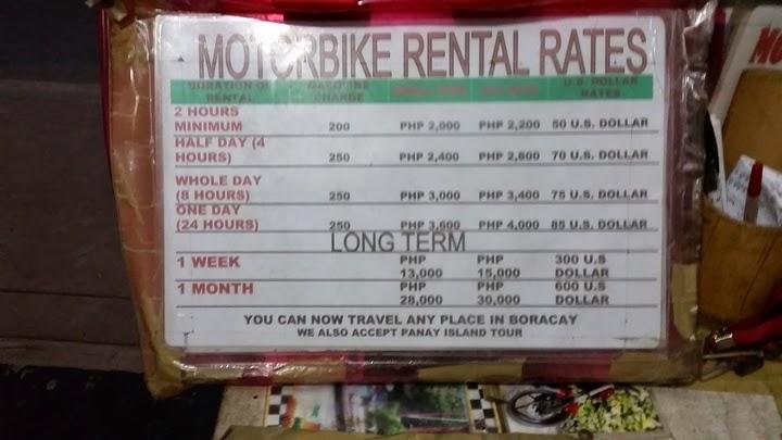 ボラカイ島のレンタルモーターバイクの料金表