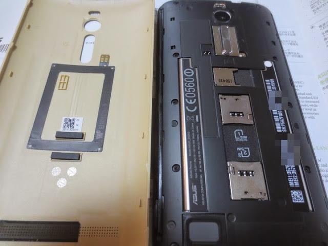 Zenfone2のデュアルSIMのSIMケースの様子