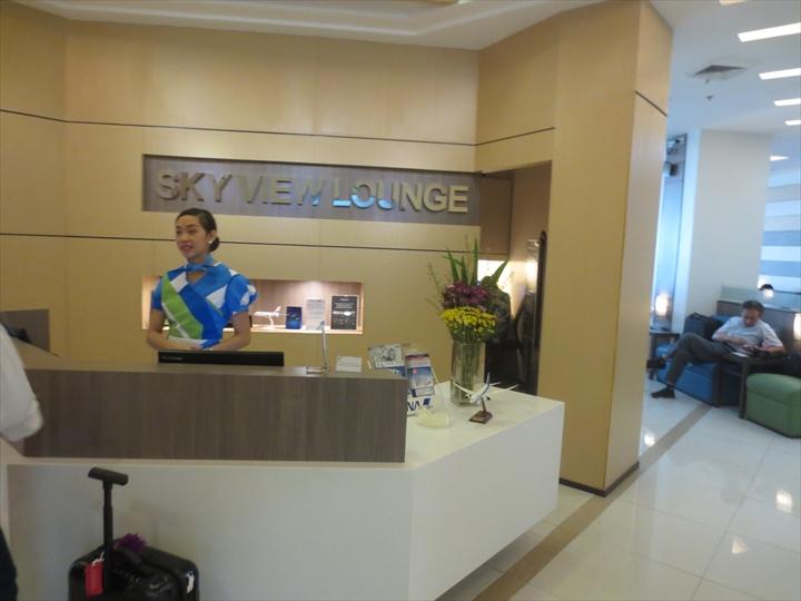 マニラ・ターミナル3のスカイビューラウンジの受付