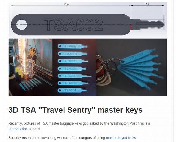 3Dプリンタによって複製されたTSAロックのマスターキー