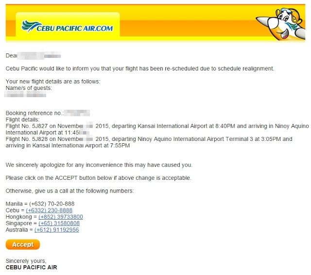Schedule Change Advisory - CebupacificAir (1/3)