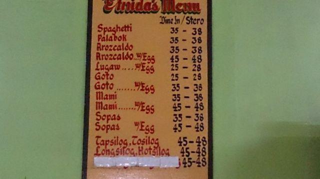 ELNIDAS FAST FOOD (プライスリスト)