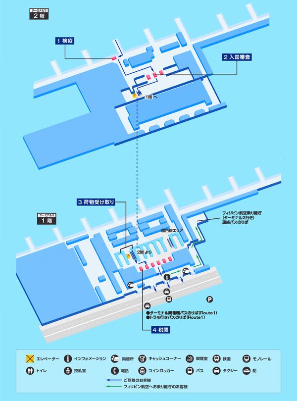マニラ ターミナル3 入国フロア